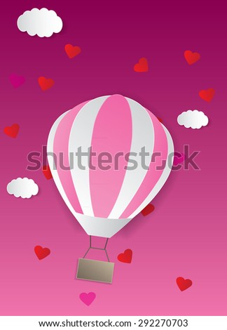 Background with hot air balloons and heart. Vector illustration of colorful hot air balloons. - stock vector
