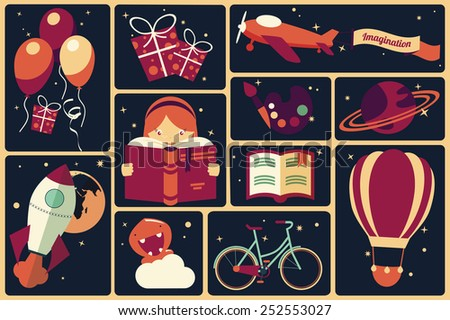 Background with imagination items and a girl reading a book, balloons, rocket ship, space, planets, vector illustration - stock vector
