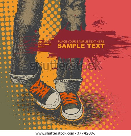 background with jeans and sneakers. vector illustration. for CD cover - stock vector