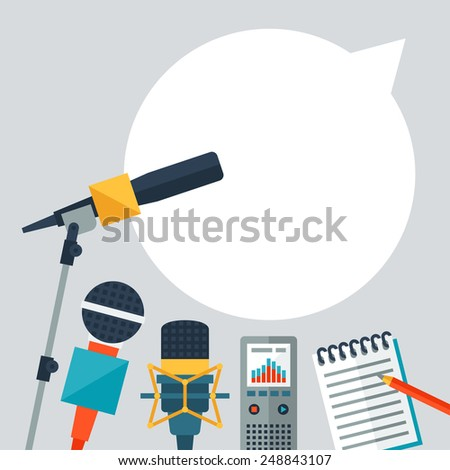 Background with journalism icons. Mass media and press conference concept symbols in flat style. - stock vector