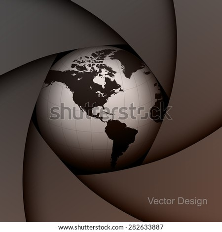 Background with lens shutter and earth globe inside, vector illustration. - stock vector