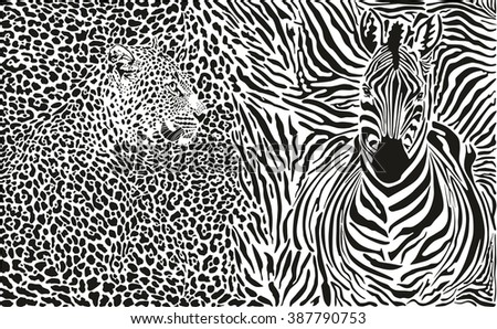 Background with leopard and zebra - stock vector