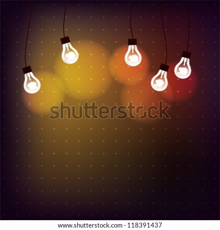 Background with light bulbs and with place for text, EPS10 file with transparent  objects - stock vector