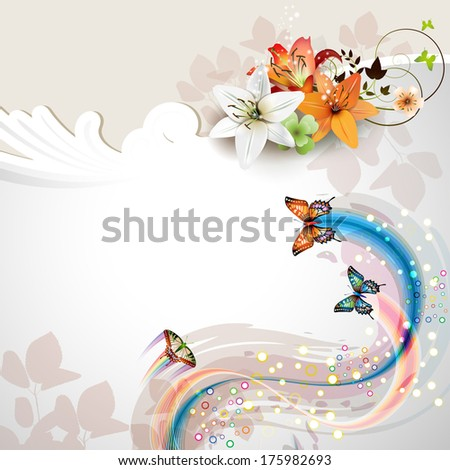 Background with lilies and butterflies - stock vector