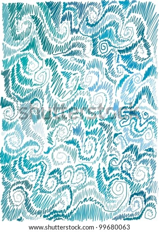 background with marine motif, scrolls, wave, hand-drawn - stock vector