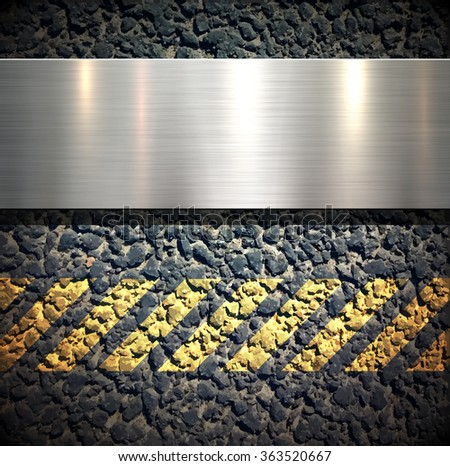 Background with metallic banner over asphalt vector texture - stock vector