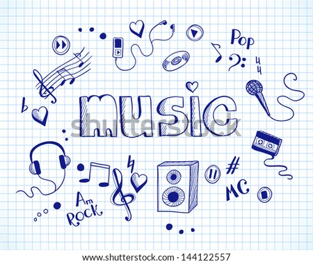 Background with music elements - stock vector