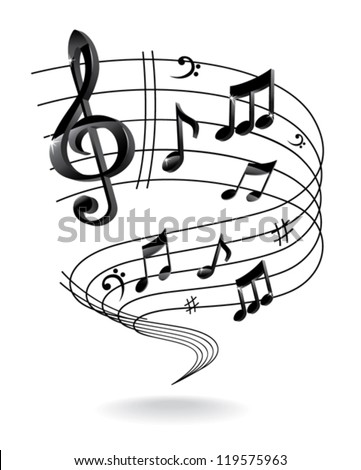 Background with Music Note. - stock vector