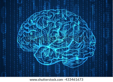 Background with numbers and brain sketch. Abstract blue background. VECTOR.  - stock vector