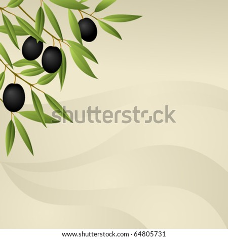 Background with olive branch - stock vector