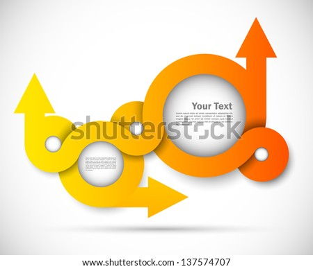 Background with orange circles and arrows - stock vector