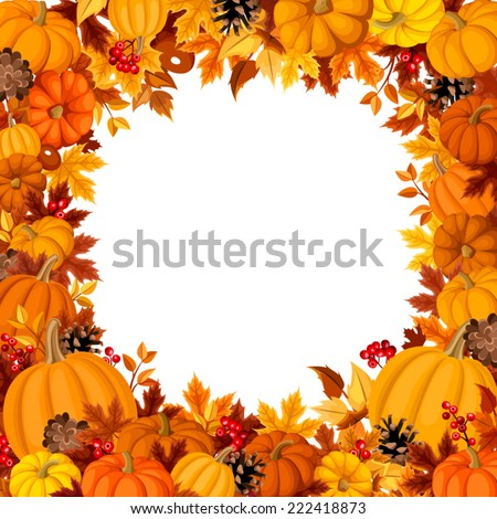 Background with orange pumpkins and autumn leaves. Vector illustration. - stock vector