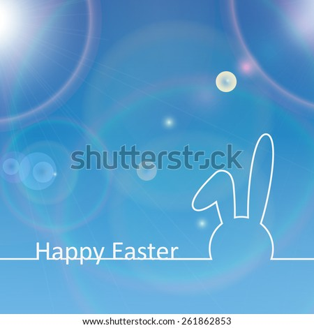 Background with outline bunny ears and blue sky. Happy Easter greeting card, vector illustration - stock vector