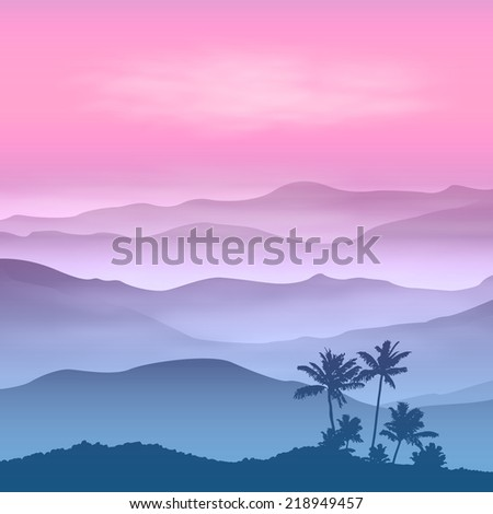 Background with palm tree and mountains in the fog. Sunset time. EPS10 vector. - stock vector
