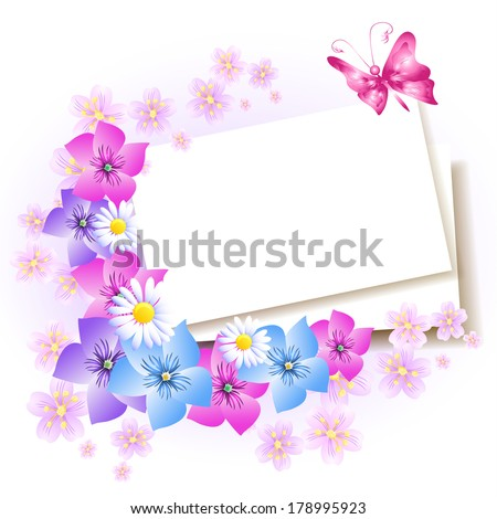 Background with paper and flowers for insert text or photo - stock vector