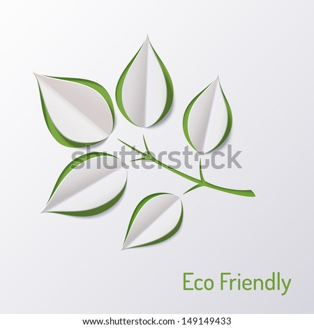 Background with paper tree branch. Eco friendly. Abstract design. Origami leaf. - stock vector