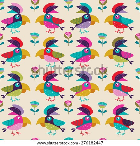 background with parrots - stock vector