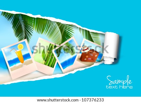 Background with photos from holidays on a seaside with ripped paper. Vector - stock vector