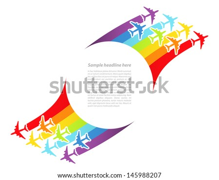 Background with rainbow airplanes. Vector illustration.	 - stock vector