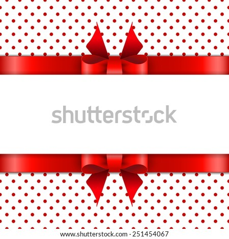 Background with red bow - stock vector