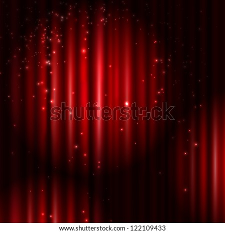 Background with red curtain and light. Eps 10 - stock vector
