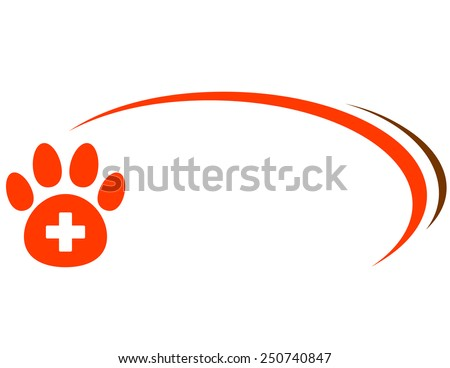 background with red paw, veterinarian cross and place for text - stock vector