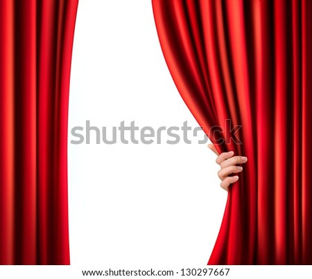 Background with red velvet curtain. Vector illustration - stock vector
