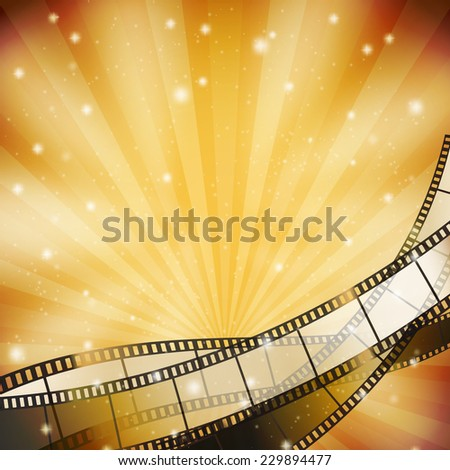 background with retro filmstrip and stars - stock vector