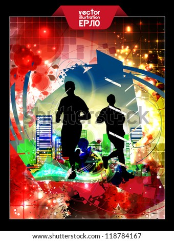 Background with runners - stock vector