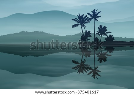 Background with sea and palm trees at night. EPS10 vector. - stock vector