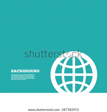 Background with seamless pattern. Globe sign icon. World symbol. Triangles green texture. Vector - stock vector