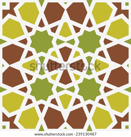 Background with seamless pattern in islamic style - stock vector