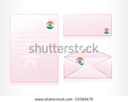 background with set of pink letterhead, envelop and postcard - stock vector