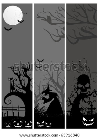 background with set of spooky halloween banner, illustration - stock vector
