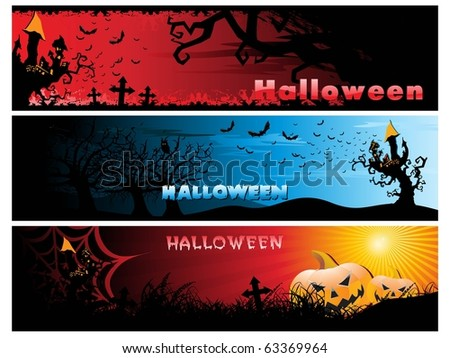 background with set of three halloween header - stock vector