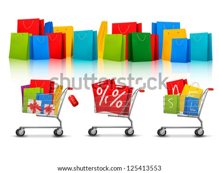 Background with shopping color bags and shopping carts with sale. Concept of discount. Vector - stock vector