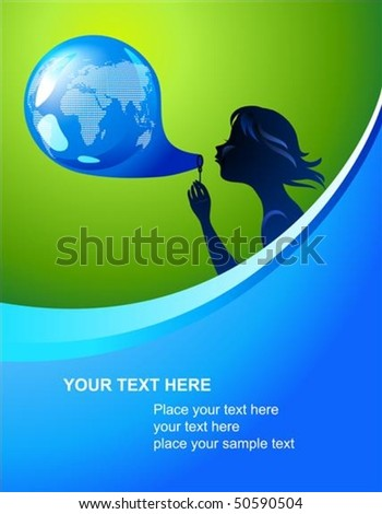 Background with silhouette of a young girl and Earth bubble - stock vector