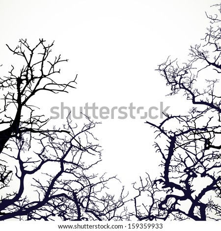 Background with silhouettes of bare branches of trees - stock vector