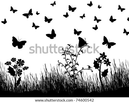 Background with silhouettes of butterflies, flowers and grass, vector illustration - stock vector