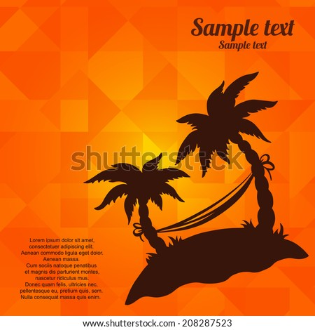 Background with silhouettes tropical coconut palm trees. Geometric pattern. Summer, hammock, island, beach holidays - vector  - stock vector
