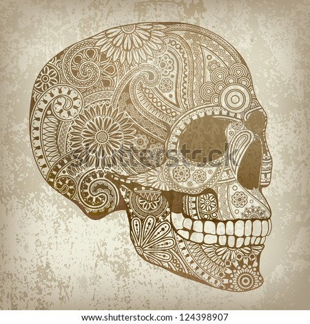 background with skull - stock vector