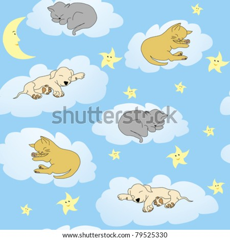 Background with sleepy animals and blue night sky - stock vector