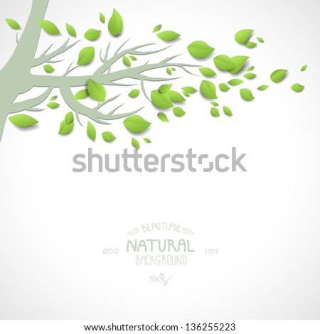 Background with spring branch and green leaves - stock vector