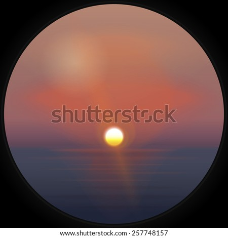 Background with  sunset at sea. EPS 10  - stock vector
