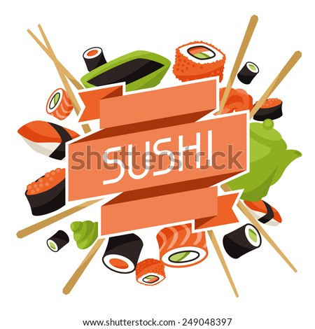 Background with sushi. Japanese traditional cuisine illustration. - stock vector