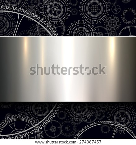 Background with technology gears and metallic shiny banner, vector illustration. - stock vector