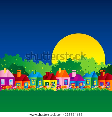 Background with the caricature of the single family homes in the spring, autumn and summer in the countryside in the night - stock vector