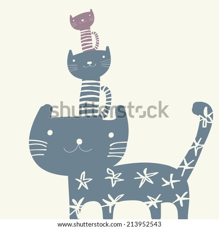 background with the image of funny cats - stock vector