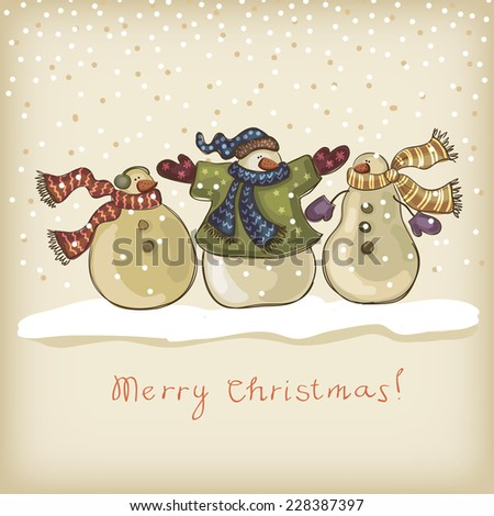 background with the image of funny snowmen - stock vector