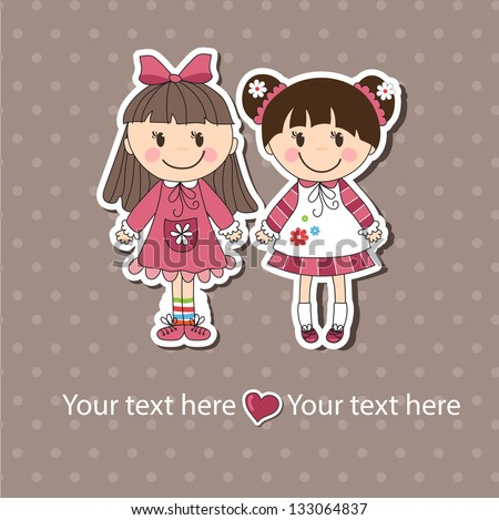 background with the image of little girls - stock vector